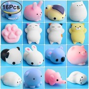 Outee Mini Squishy Toy, 16 Pcs Mochi Random Squishies Stress Toys Animal Cat Squeeze Animals Relief Toy