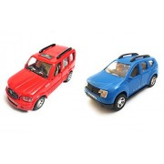 Combo of Scorpio Car and Duster Car Toy for Kids  Toys for Show Piece   Miniature/Model Car Toys  Pull Back and Go   Openable Doors   Red and Blue Color, Set of 2 Toys