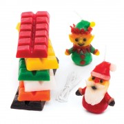 Candle Wax & Wicks - 6 Candle Wax Blocks In 6 Assorted Festive Colours. Make Your Own Christmas Candles.