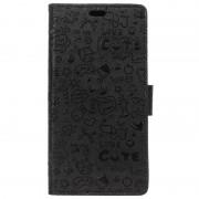 Nokia 8 Textured Wallet Case - Doodle - Black