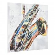[art.work] Ručně malovaný obraz - saxofon - plátno napnuté na rámu - 100x100x3,8 cm