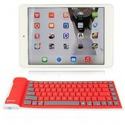 abcGoodefg Ultra-thin Foldable Silicone Waterproof Wireless Bluetooth keyboard for iPhone iPad Laptop Desktop Netbook MAC Computer HTC Nokia Sony Ericsson Motorola Samsung LG Blackberry Android Mobile Phones (Red)