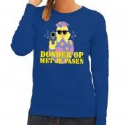 Bellatio Decorations Fout paas sweater blauw donder op met je Pasen voor dames