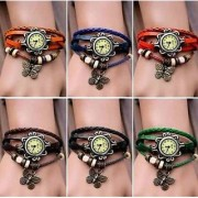 NEW Multi Leather Strap Watch Hand-knitted Leather watch women' watches (Only 1 colour piss)