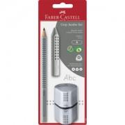 Faber-Castell Aktiengesellschaft Faber-Castell Jumbo Grip Set, Dreikantbleistift, Anspitzer und Radierer für Schreibanfänger, 1 Set, grau