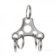 Llavero de anillo de 5 acero inoxidable conveniente para ciclismo - plata