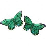Decoris 2x Groene/gekleurde vlinders decoraties 9 x 12 cm op clip