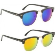 Iconicshades Clubmaster Sunglasses(Blue, Yellow)