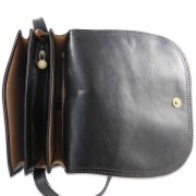 Etruschi Leather Morgana - borsa a tracolla in pelle tamponata bordo stondato -
