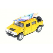 2005 Hummer H2 SUT w/ Surfboard, Yellow - Kinsmart 5337-97DS - 1/40 Scale Diecast Model Toy Car
