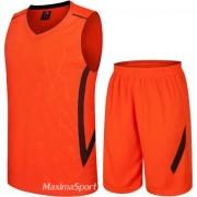 Баскетболен екип потник с шорти - оранжев със син