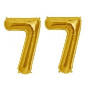 De-Ultimate Solid Golden Color 2 Digit Number (77) 3d Foil Balloon for Birthday Celebration Anniversary Parties