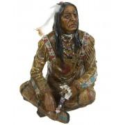 Sittande Indian med ''Smycke'' - 19 cm Figur