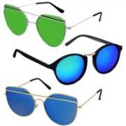 GreatDio Oval, Cat-eye Sunglasses(Blue, Green)