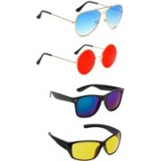Elligator Aviator, Round, Wayfarer Sunglasses(Blue, Red, Yellow)