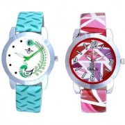 Pink Isolatic And Green Lite Feathers Party Wadding Designer Watch For Women