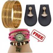 Pourni 12 Bangles and exclusive gold Plated Designer Pearl Jhumka Earring with one freebies -combo-bg04