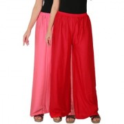 Culture the Dignity Women's Rayon Solid Palazzo Ethnic Pants Palazzo Ethnic Trousers Combo of 2 - Baby Pink - Red - C_RPZ_P2R - Pack of 2 - Free Size