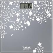 Cântar de baie Tefal Classic Decor PP1140V0, 160 kg, Gradație 100 g, Pornire/oprire automată, Display LCD, Argintiu/floral