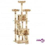 vidaXL Penjalica za mačke sa stupovima za grebanje od sisala 170 cm bež s uzorkom šapa