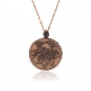 Ecos Collana in bronzo con pendente removibile in legno inciso