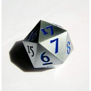 Kakapopotcg Deck Box Extra Large Solid Metal Silver D20 Countdown Dice 20 Face Count Down Counter Faced with Blue Numbers Heavy