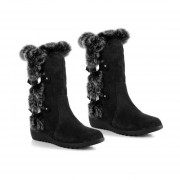 2017 Women Snow Boot Fur Warm Winter Round Toe Knee High Boot Anti-slip Shoes Black