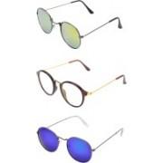RaghuvirFashion Aviator, Wayfarer, Round Sunglasses(Yellow, Clear, Blue)