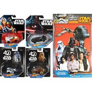 Hot wheels Star Wars Character Cars 40th New Hope Chewbacca / R2-D2 Droid + Darth Vader #1 & Luke Skywalker #3 with Bonus Decals Vinyl Stickers Character