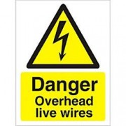 Unbranded Warning Sign Overhead Wires Plastic 30 x 20 cm