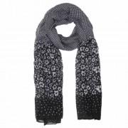 Textil sál 70x180cm,100% viszkóz, fekete fehér virágos