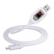Cablu Date Si Incarcare Micro USB Samsung HTC Huawei Universal Alb Cu Display