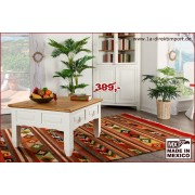 1a Direktimport Couchtisch Mexico Weiß / Natur, Landhausstil Wohnzimmertisch, quadratisch, 80x80 cm