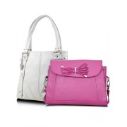 Butterflies Handbag (White and Pink) (BNS CB016)