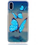 GSMWise - Apple iPhone X - Zachte Flexibele TPU Hoesje Back Case - Blauwe Vlinders Design - Transparant / Blauw