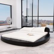 vidaXL Легло с матрак, 180x200 cм, кръгло, изкуствена кожа, черно