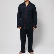 【SALE 40%OFF】コンフォートインデックス COMFORT INDEX モダールパイピングオープンカラーパジャマ (ネイビー)