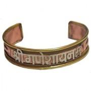 Men Style Shri Ganesh Namh Openable Brown Copper Half Kada Kada For Men And Women