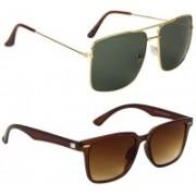 Marabous Wayfarer, Retro Square Sunglasses(Brown, Green)