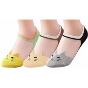 BEAUTYFUL Women's Transparent Casual Cat Ankle Length Invisible Silk Cotton Soft Socks Ultra thin Transparent - 3 PCS