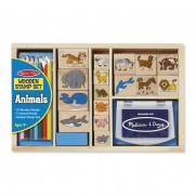 Melissa & Doug Fa nyomda készlet ceruzákkal, állatok