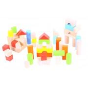 Cuburi colorate pentru construit BigJigs, 50 cuburi, lemn, 12 luni+