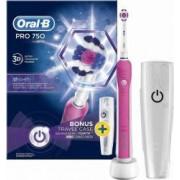 Periuta electrica Oral-B PRO 750 3D White + suport de calatorie Roz