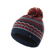 Boys' Buzzer Fleece Lined Knit Bobble Beanie Dark Denim Blaze Orange Aluminium Grey