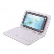 Husa Tableta 8 Inch Cu Tastatura Micro Usb Model X , Alb , Tip Mapa