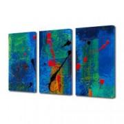 Tablou Canvas Premium Abstract Multicolor Negru Rosu Pe Fundal Verde-Albastru Decoratiuni Moderne pentru Casa 3 x 70 x 100 cm