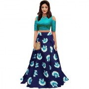 Latest New Designer Blue Color Banglori Silk Satin Semi Stitched printed Lehenga Choli By Omstar Fashion (lotusBlue)