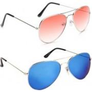 Just Style Aviator Sunglasses(Blue, Pink)