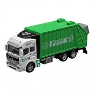 E-Scenery 1:32 Garbage Truck Engineering Vehicles Toy Construction Vehicles Toy Trucks Simulation Model Car Toys Boys and Girls 21×6×8Cm One Size Green