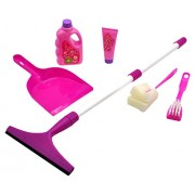 Little Helper Pretend Play Toy Set With Dust Pan, Mock Soap Bottle, Mop, Brusher And Viper Cleaner Educational Cleaning Game For Preschoolers 3+ Fun Helping Mom Kit To Clean Around The House